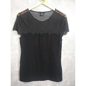 H&M lace black top size small short sleeve